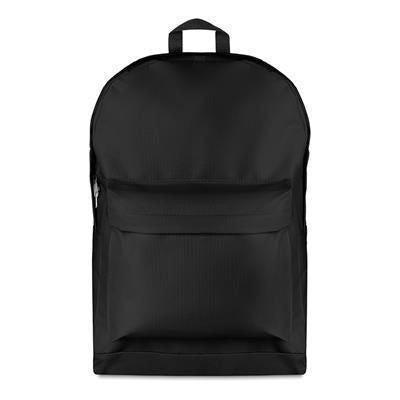 600D POLYESTER LARGE BACKPACK RUCKSACK IN BLACK