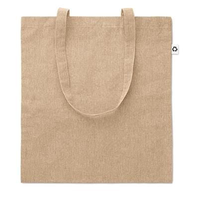 2 TONE 100% COTTON SHOPPER TOTE BAG with Long Handles