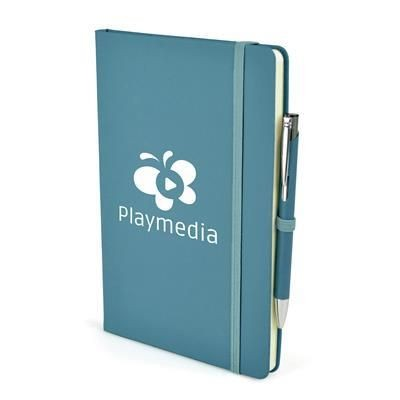 2-IN-1 A5 MOLE NOTEBOOK & PEN in Cyan