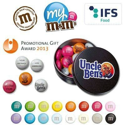 ROUND METAL TIN OF BRANDED M&M SWEETS