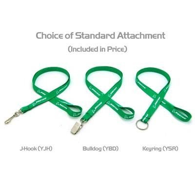 1 - 2 INCH SILKSCREENED FLAT LANYARD with J Hook