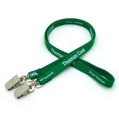 1 - 2 INCH SILKSCREENED TUBULAR LANYARD with Double Standard Attachment