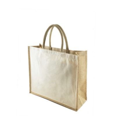 TANDU 10OZ CANVAS SHOPPER TOTE BAG with Jute Gussets in Natural
