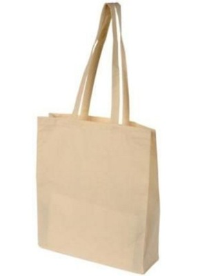 TOHE 5OZ NATURAL COTTON SHOPPER TOTE BAG with Long Handles & Gusset