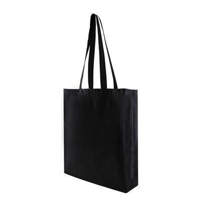TOHE FC 5OZ BLACK COTTON SHOPPER TOTE BAG with Long Handles & Gusset