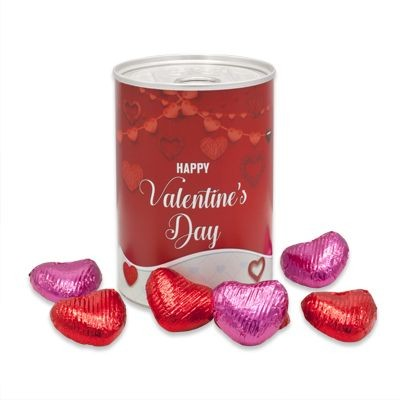 TIN OF VALENTINES CHOCOLATE HEARTS with Branded Wrapper
