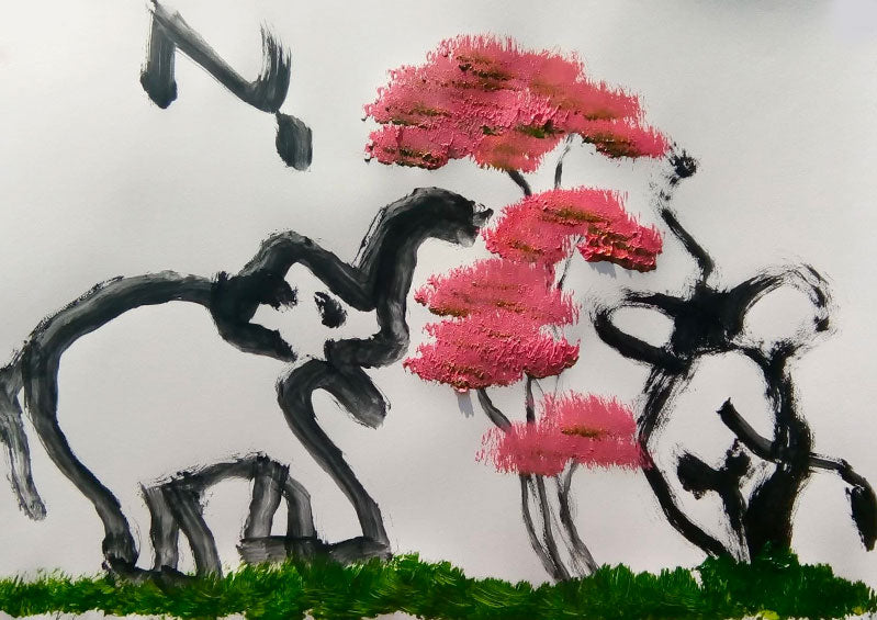 Paintings by elephants made at our elephant park and clinic in Chiang Mai, Thailand.