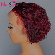 Burgundy Lace Wig In Pixie Cut