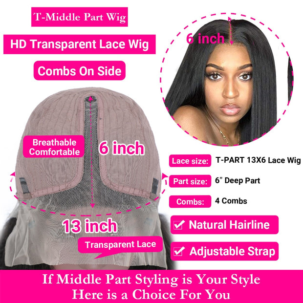 Straight Transparent Lace Front Human Hair Wigs
