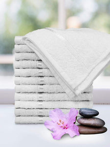 Cotton Face Towel, 450 GSM, 12 Pc, White Story@Home