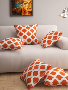 Designer 5 Piece Cushion Cover, Orange Story@Home