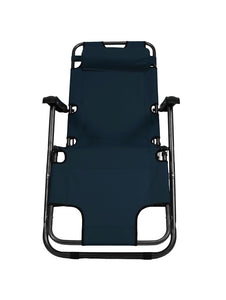 Easy Folding Reclining Patio Lounge Chair Cum Bed - Navy Blue Story@Home