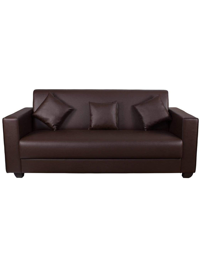 Leather Sofa - Couch For Three - Brown Story@Home