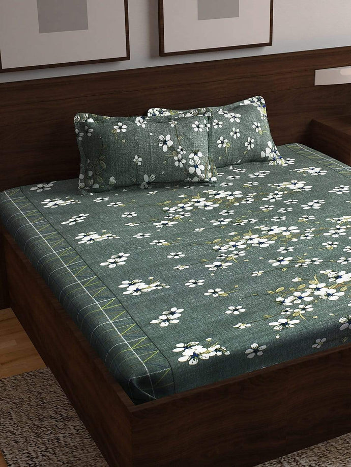 Majestic 152 TC Cotton Double Bedsheet, Grey Story@Home