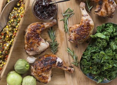 Brined Chicken with Tomatillo Corn Relish & Sautéed Kale