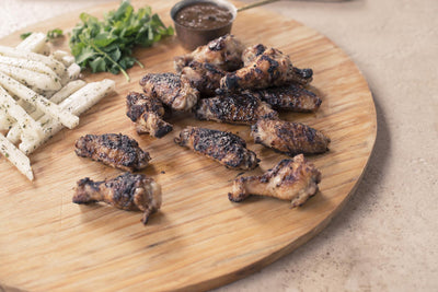 Grilled Mediterranean Chicken Wings with Fresh Jicama Sticks