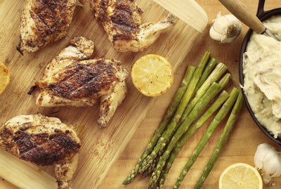 Jerked Chicken With Steamed Asparagus & Smashed Potatoes
