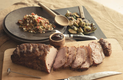 Smoked Pork Loin with Southwest Orzo Salad & Brussel Sprouts