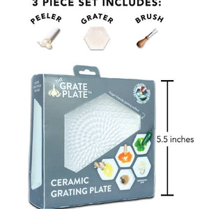 Grater Plate with Peeler and Brush, White