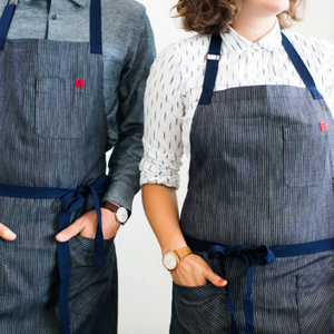 Striped Bass Indigo Pin Stripe Apron