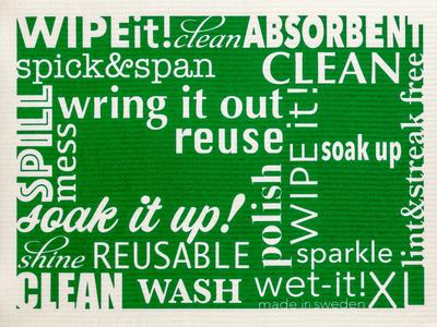 Wet-it! - Word Art Swedish Cloth- Extra Large - Green