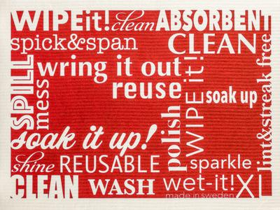 Wet-it! - Word Art Swedish Cloth- Extra Large - Red