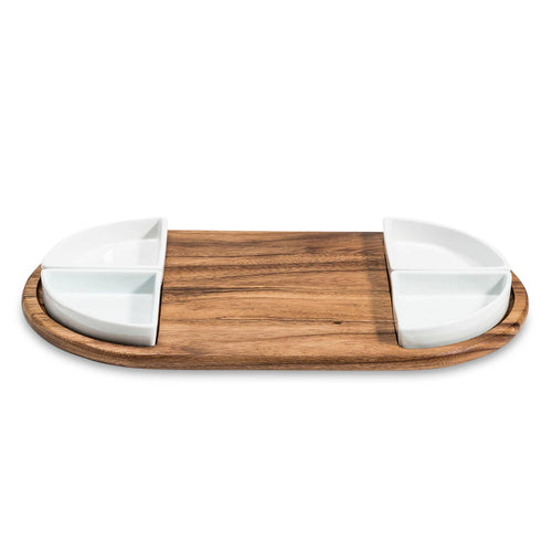 Charcuterie Board with 4 Ceramic Dishes