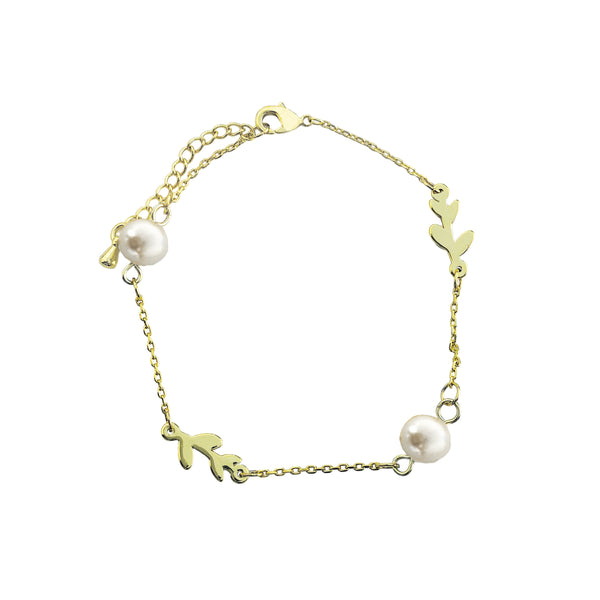 Laurel and pearl bracelet