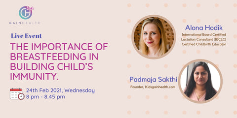 Online event on the importance of breastfeeding in building child's immunity.