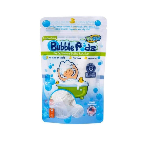 trukid eczema care bubble podz 8 pack,  eczema safe and fun way for kids to bathe in bubbles