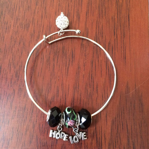 Silver Adjustable LOVE and HOPE Bangle Bracelet with Glass and Crystal Beads