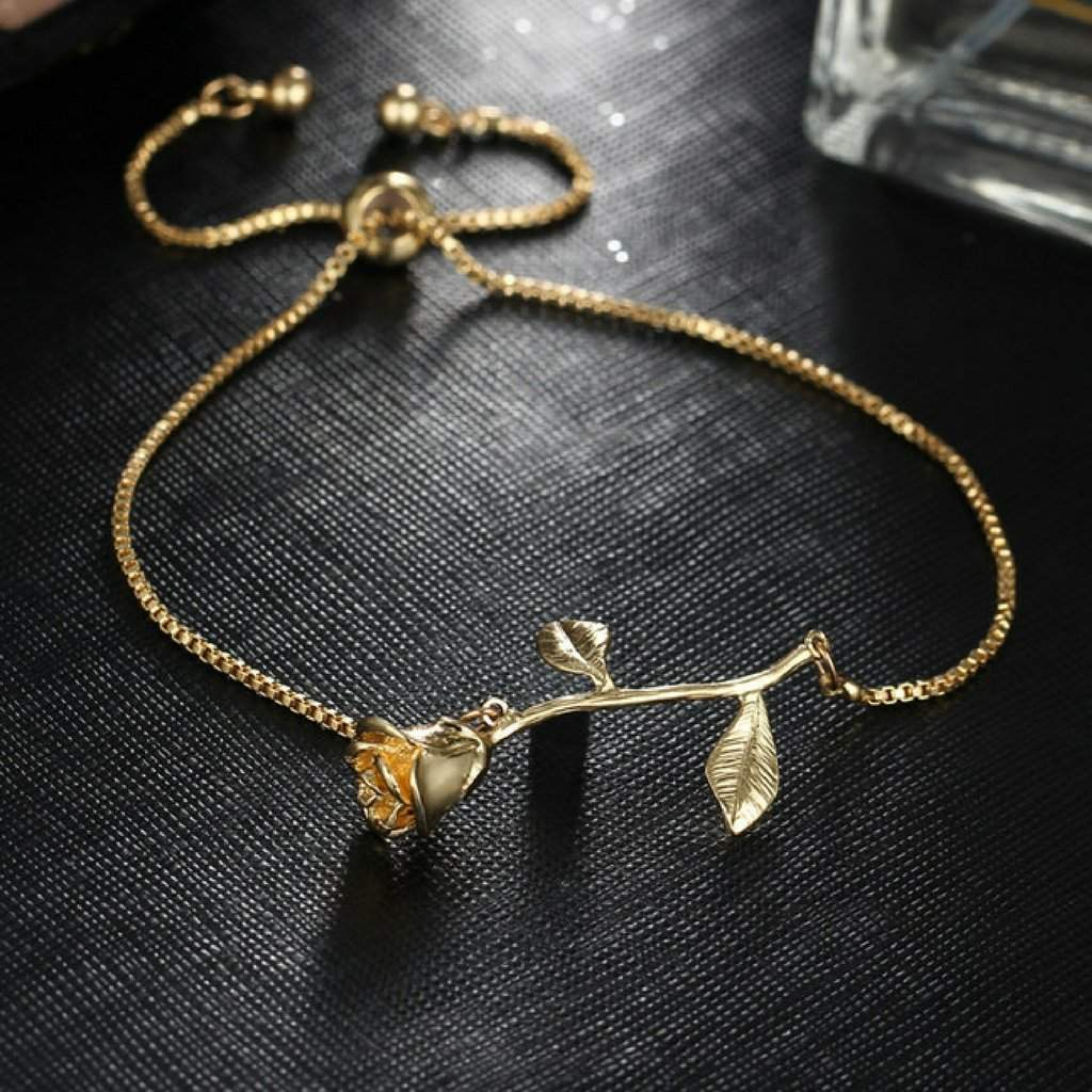 Gold Adjustable Rose Bracelet - JaeBee Jewelry