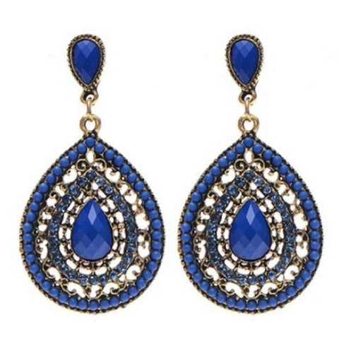 Blue Crystal Pear Shaped Bohemian Stud Earrings
