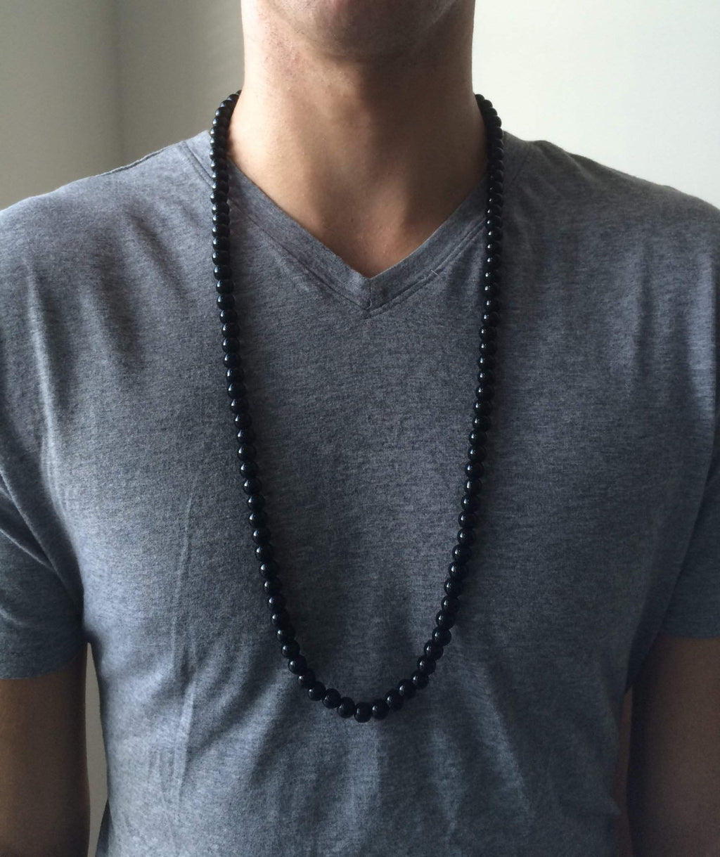 Mens Black Onyx Beaded Long and Short Necklaces - JaeBee