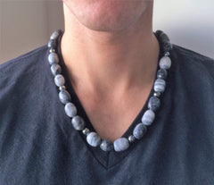 Mens Gray and Black Marble Stone Necklace - JaeBee Jewelry
