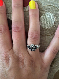 Sterling Silver Rose Flower with Leaves Ring - JaeBee Jewelry