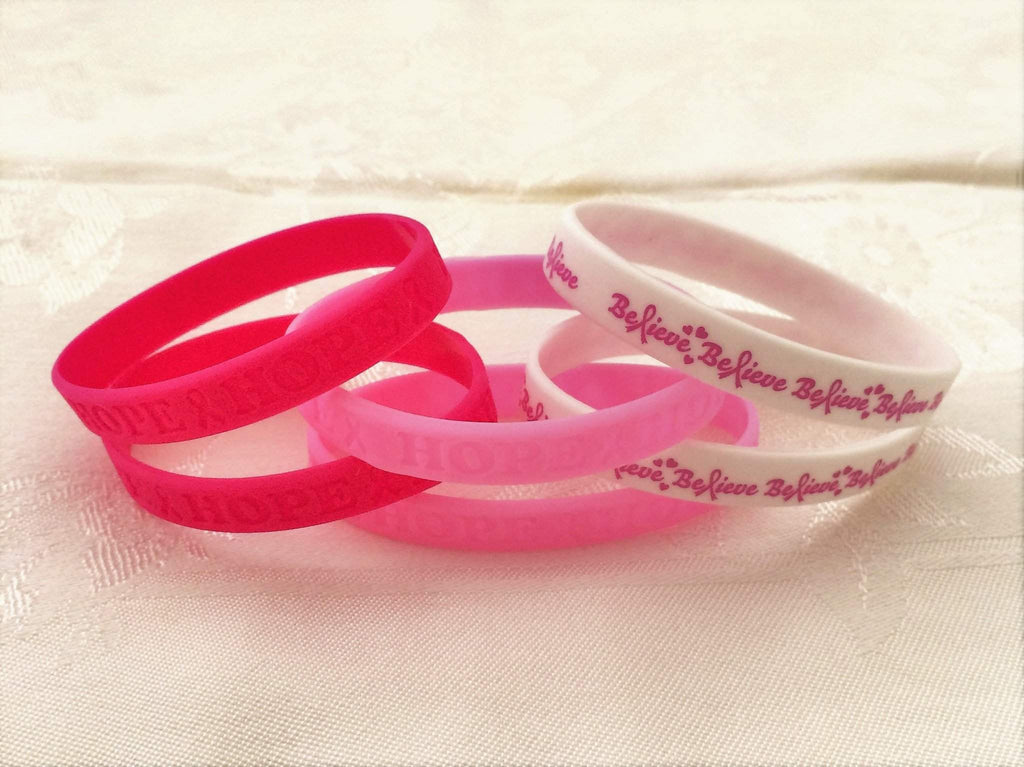 Breast Cancer Pink Ribbon Rubber Bracelet - JaeBee Jewelry