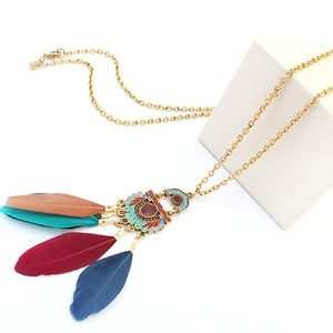 Long Multi Colored Feather Pendant Necklace - JaeBee Jewelry