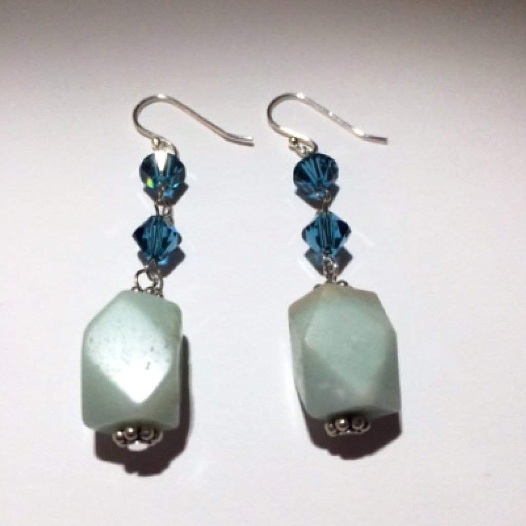 Amazonite and Blue Swarovski Crystals Dangle Earrings - JaeBee