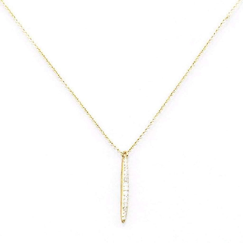 Gold and CZ Bar Necklace - JaeBee Jewelry