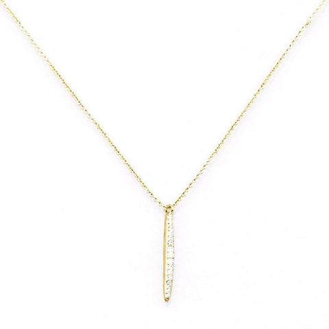 Gold and CZ Bar Necklace