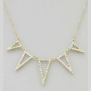 Geometric Triangle Gold and Crystal Necklace - JaeBee Jewelry