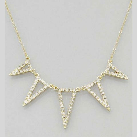 Geometric Triangle Gold and Crystal Necklace