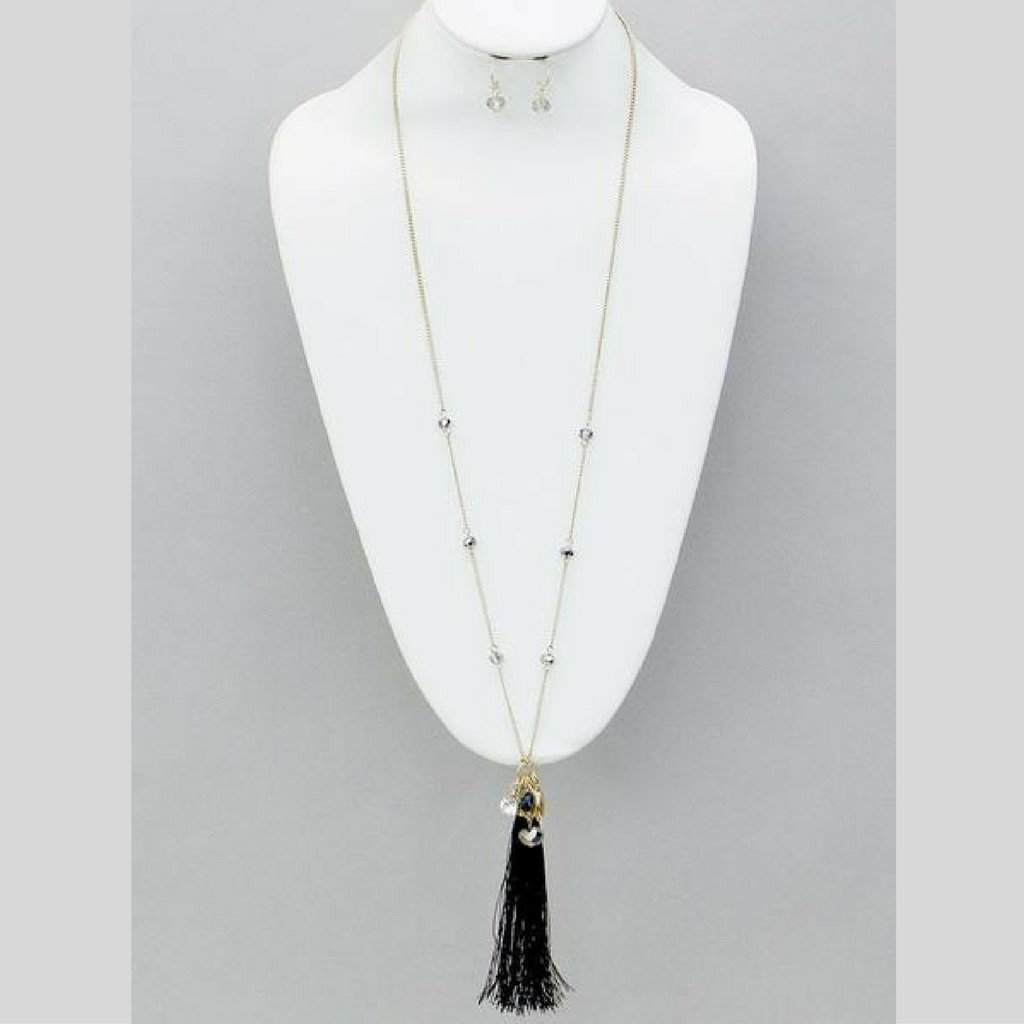 Black Tassel and Crystal Gold Chain Long Necklace