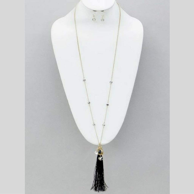 Black Tassel and Crystal Gold Chain Long Necklace - JaeBee Jewelry