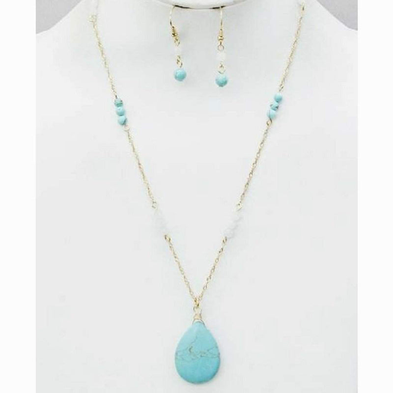 Teardrop Turquoise Drop Stone Necklace - JaeBee Jewelry