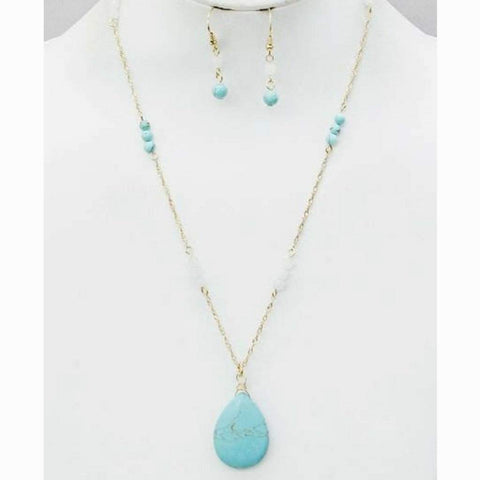 Teardrop Turquoise Drop Stone Necklace