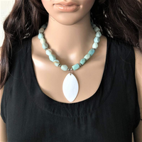 Blue Green Amazonite and White Shell Pendant Beaded Necklace - JaeBee Jewelry