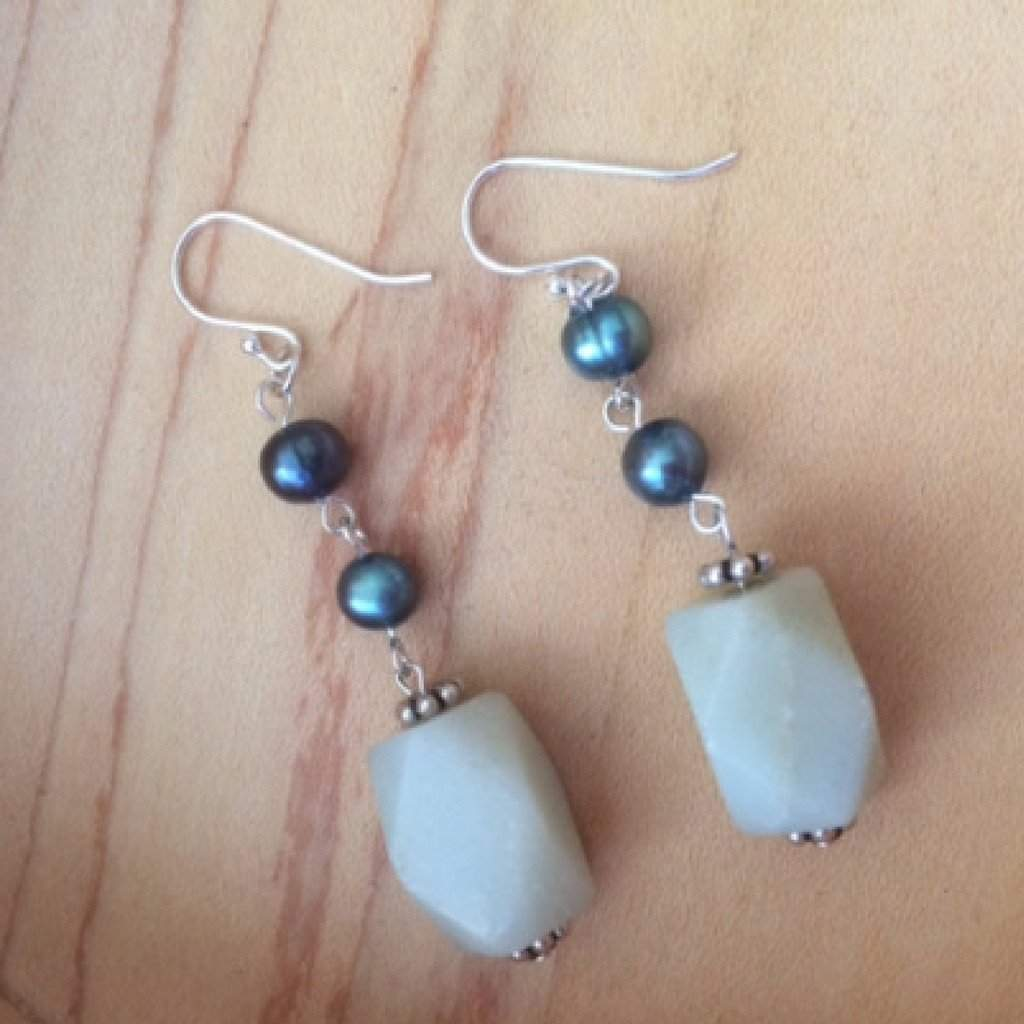 Amazonite and Blue Potato Pearls Dangle Earrings - JaeBee Jewelry