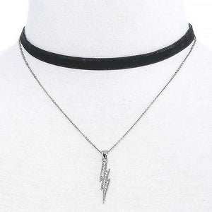 Crystal Lightening Bolt Silver Chain and Black Layered Choker - JaeBee